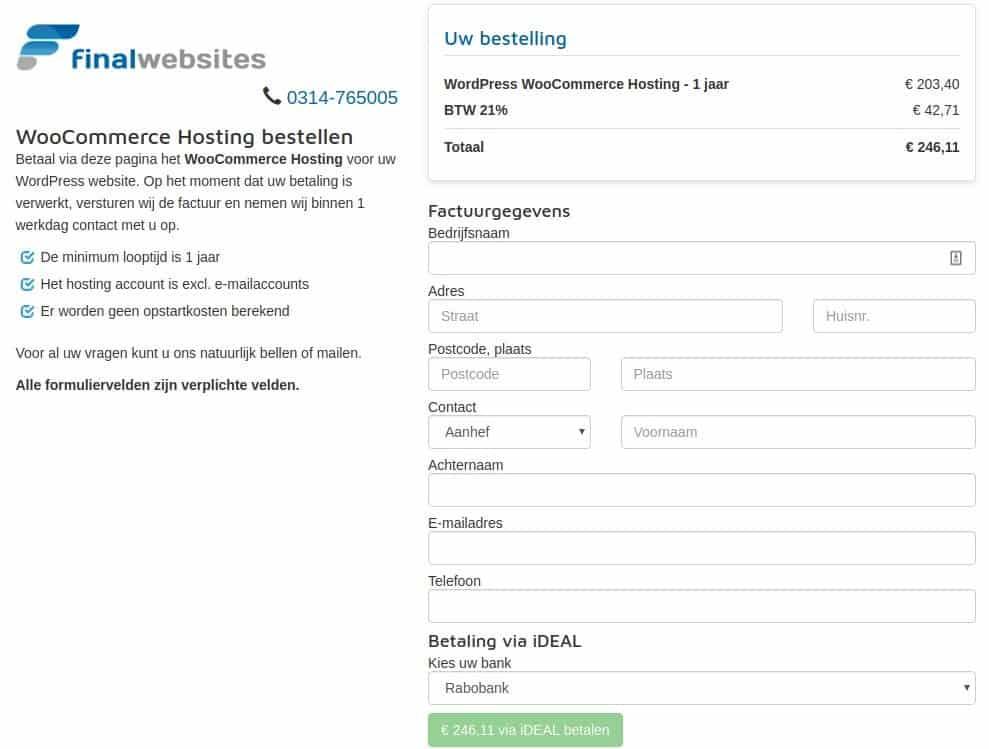 Webhosting betaalformulier