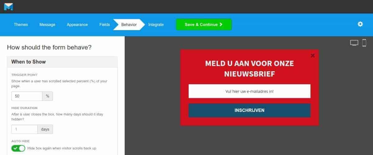 Inschrijfformulieren met MailMunch