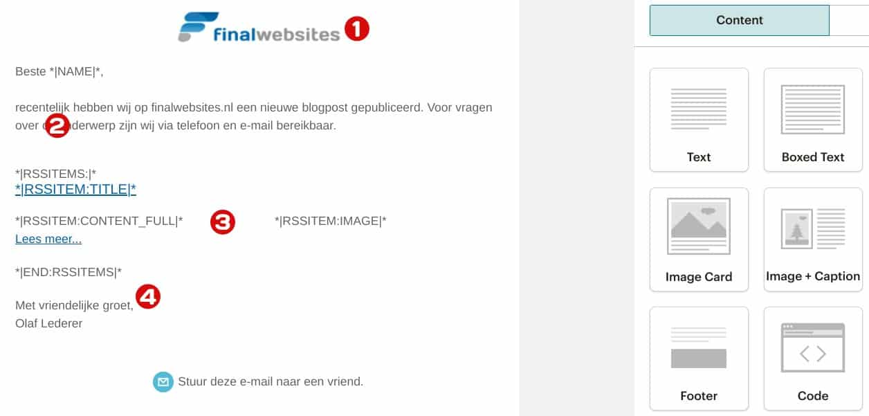 Mailchimp RSS template bouwen