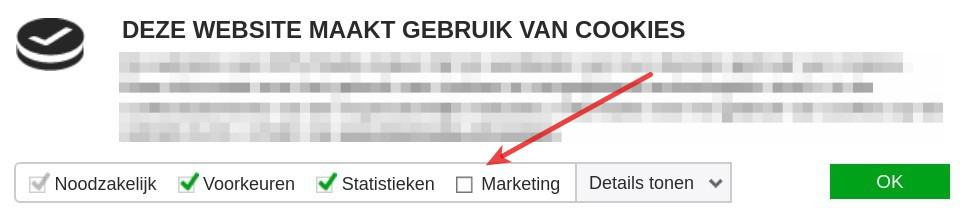 Cookiemelding voor remarketing