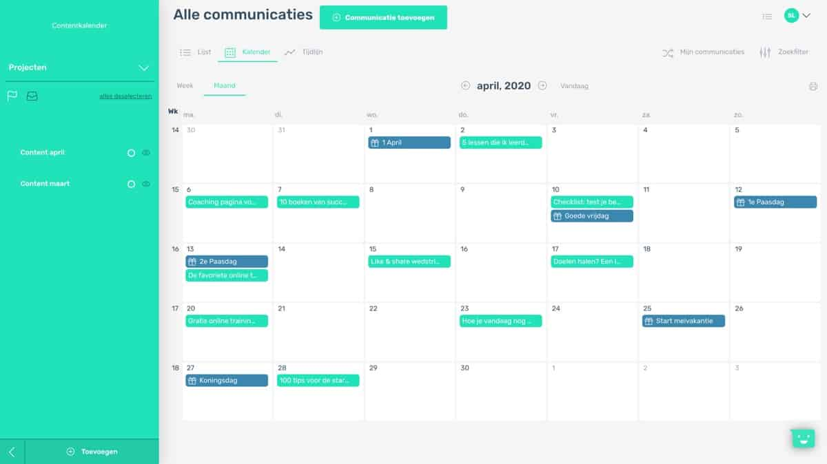 Maand weergave contentkalender
