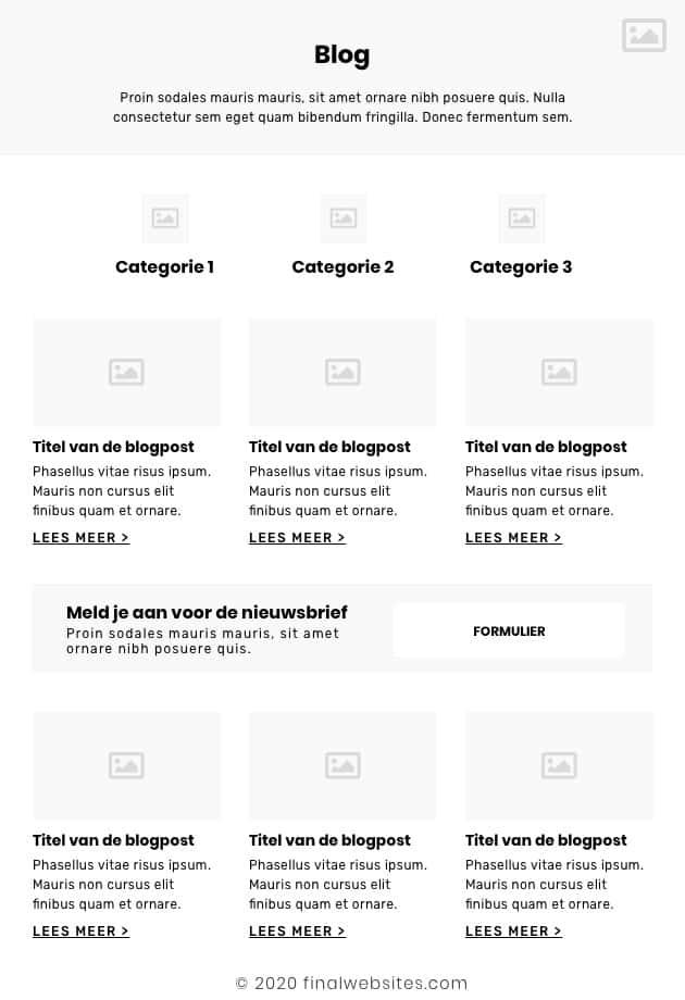 Voorbeeld wireframe blog