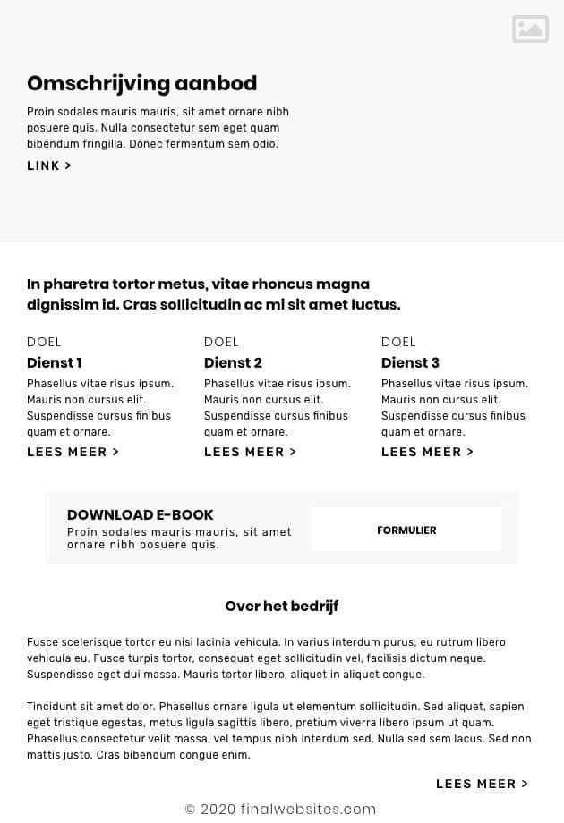 Voorbeeld wireframe homepage
