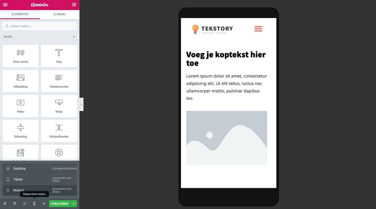 Website optimaliseren voor mobiel met Elementor