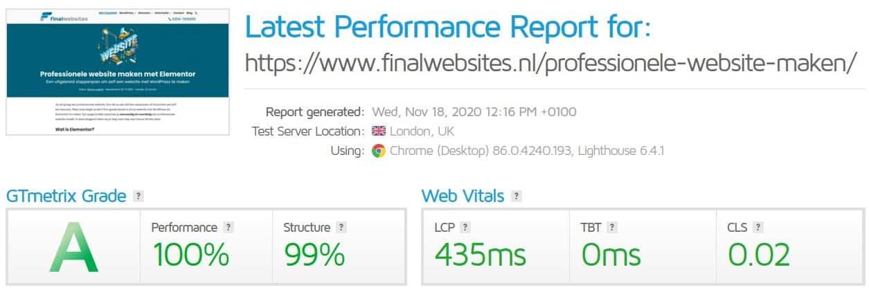 GTmetrix resultaat voor finalwebsites